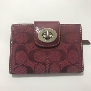 *COACH* Signature Canvas Bifold Turnlock Wallet